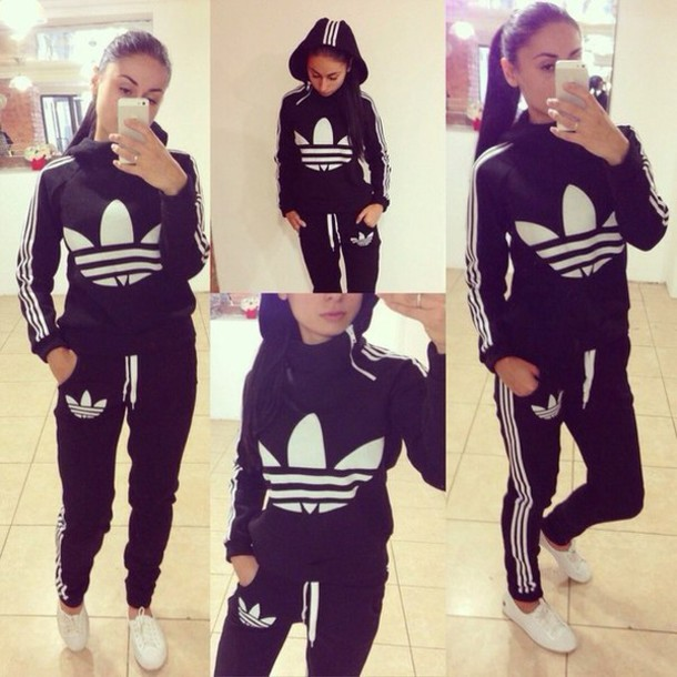 Jumpsuit Adidas 3 Stripes Black Black And White Tracksuit