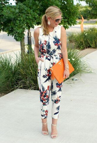 jumpsuit floral jumpsuit bag orange bag sandals white sandals office outfits summer outfits sunglasses