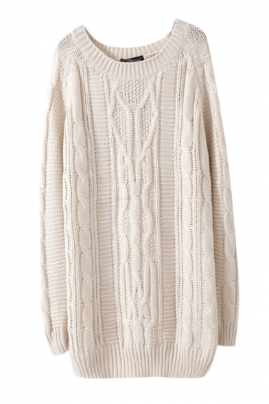 Plain cable knit long sleeve sweater in midi length