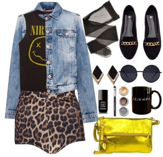 blouse nirvana leopard print denim denim jacket shoes black yellow bag grunge sunglasses earrings shorts jacket underwear