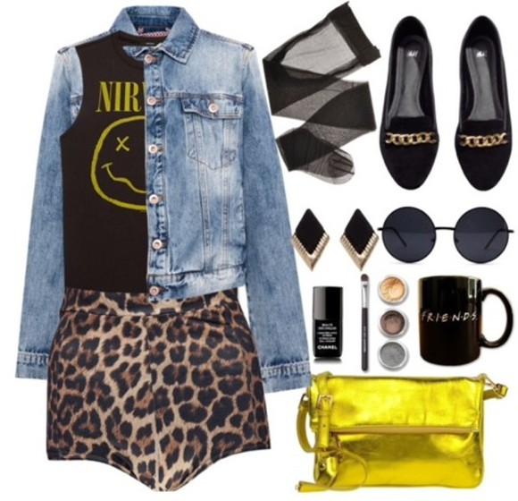 grunge denim blouse jeans jacket black shoes nirvana leopard print yellow bag sunglasses earrings shorts