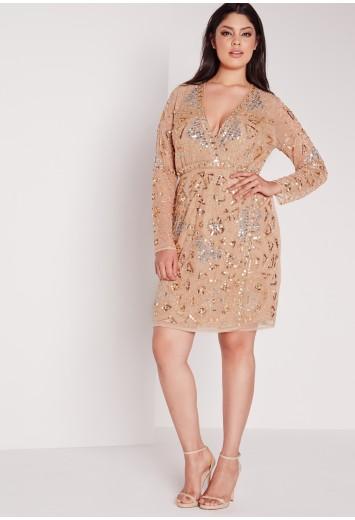 Missguided - Plus Size Premium Embellished Dress Gold