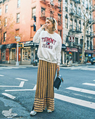 top tumblr sweatshirt tommy hilfiger pants wide-leg pants stripes striped pants yellow yellow pants