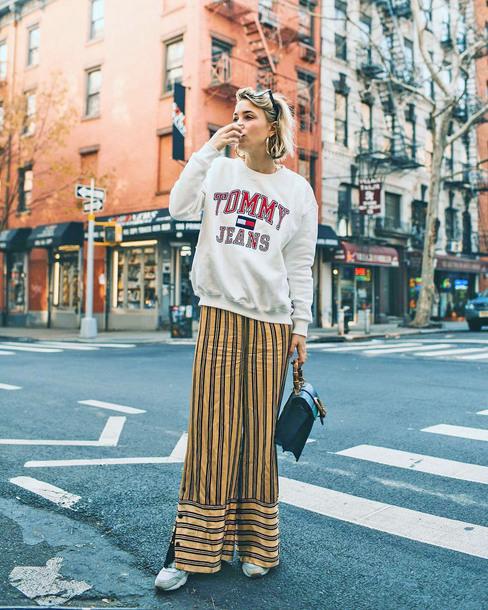 top tumblr sweatshirt tommy hilfiger pants wide-leg pants stripes striped pants yellow yellow pants