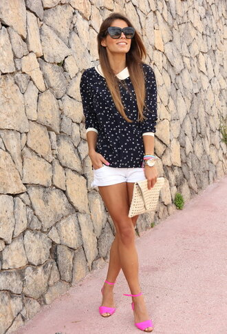 shoes pink sandals sandals shorts white shorts top polka dots black top sunglasses bag nude bag summer outfits