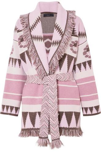 cardigan jacquard knit pink sweater