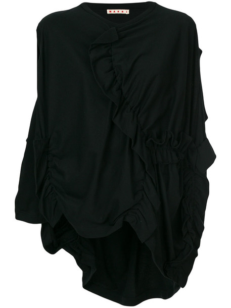 MARNI top women draped cotton black