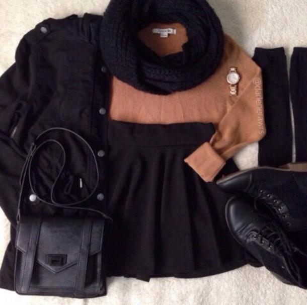 jacket scarf skirt socks shoes sweater