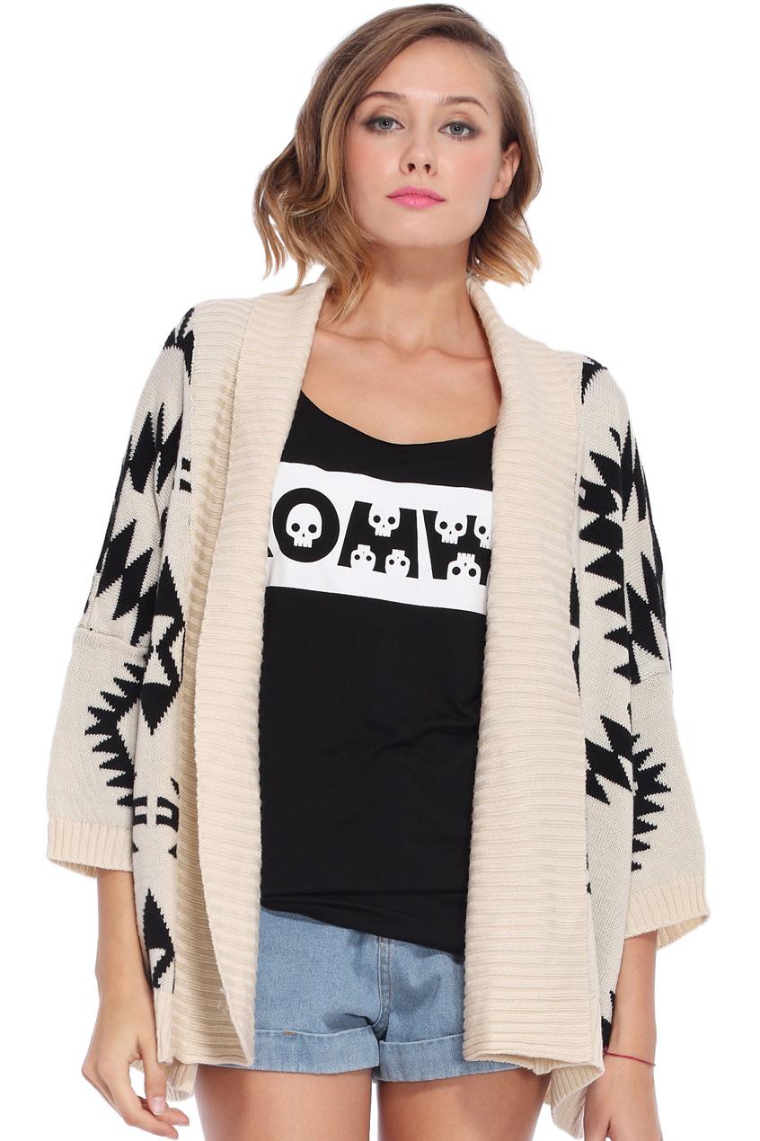 Romwe tribal geometric cropped sleeves apricot cardigan, the latest street fashion