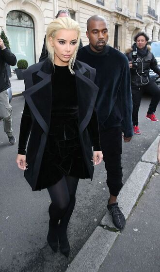 coat blonde hair kim kardashian fashion week 2015 kanye west dress platinum hair