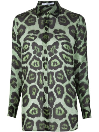 blouse sheer print leopard print green top