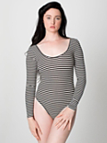 Stripe Cotton Spandex Jersey Short Sleeve T-Shirt Leotard | American Apparel