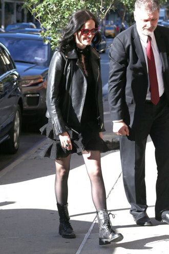 jacket french actress celebrity style celebrity eva green sunglasses red sunglasses skirt mini skirt black skirt boots black boots tights