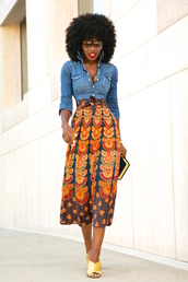 blogger,shirt,skirt,bag,sunglasses,shoes,denim jacket,maxi skirt,african print,gold shoes