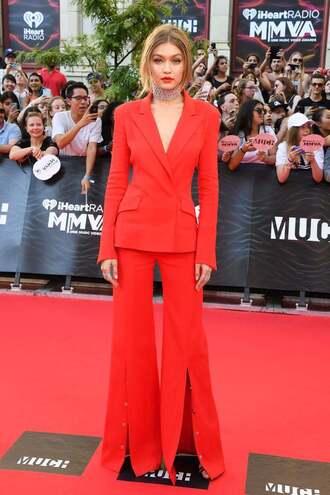 pants red blazer gigi hadid red carpet suit choker necklace necklace model