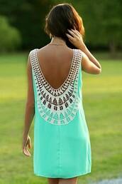 dress,lace dress,neon dress,boho chic,boho dress,summer dress,water green,streetwear,streetstyle