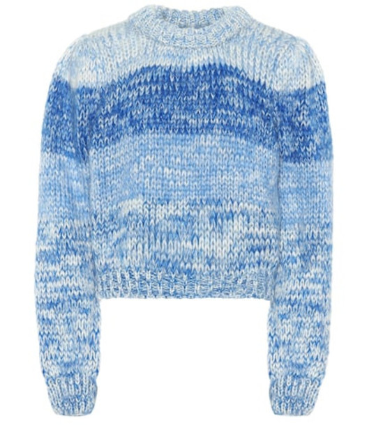 Ganni Wool and mohair sweater in blue