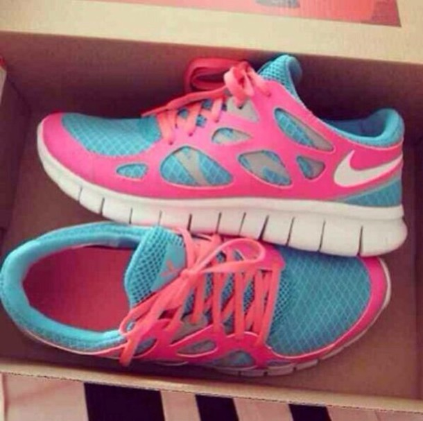 shoes nike pink blue nike free run trainers running sportswear athletic nike  running shoes