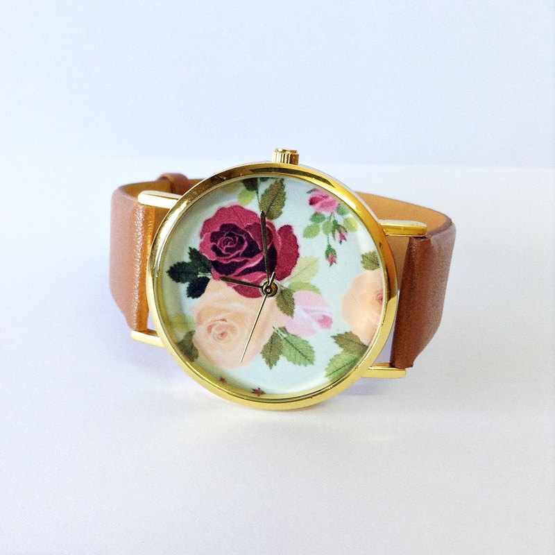 Floral Watch, Rose, Vintage Style Watch, Victorian, Leather Watch, Women's watch,