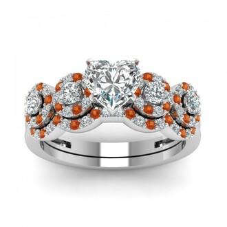 jewels heart cut diamond ring set pretty halo design prong set heart shaped diamond wedding set with orange sapphire orange sapphire ring set evolees.com engagement ring and wedding band set