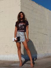 skirt,top,blogger,rocky barnes,instagram,mini skirt,sandals