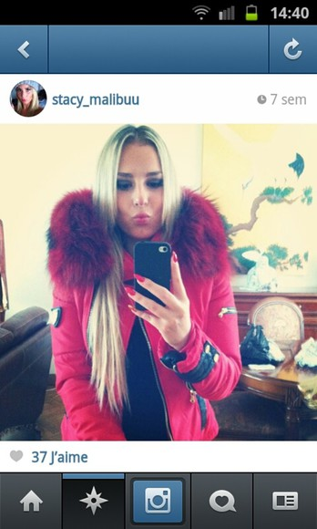 red coat coat fur winter coat