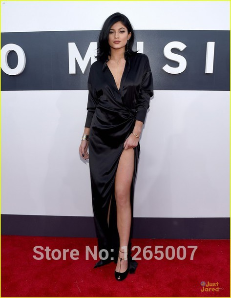 Aliexpress.com : Buy 2014 Fashion Deep V Neck Long Sleeves High Slit Black A Line Celebrity Dress Long Robe Special Occasion Dress from Reliable dress war suppliers on SFBridal
