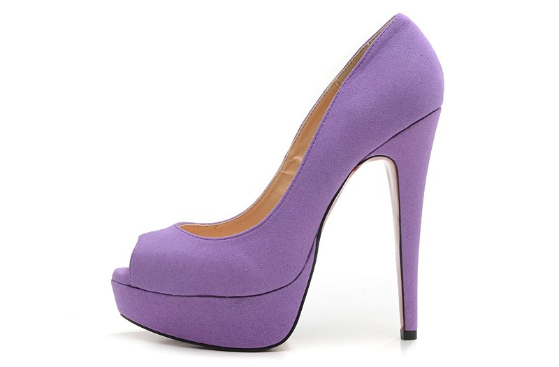 Christian Louboutin 2013 New Violet Suede Peep Toe Platform Pump 140mm [aalouboutin1015] - $169.99 : Christian Louboutin shoes,Christian Louboutin shoes sale,CL shoes