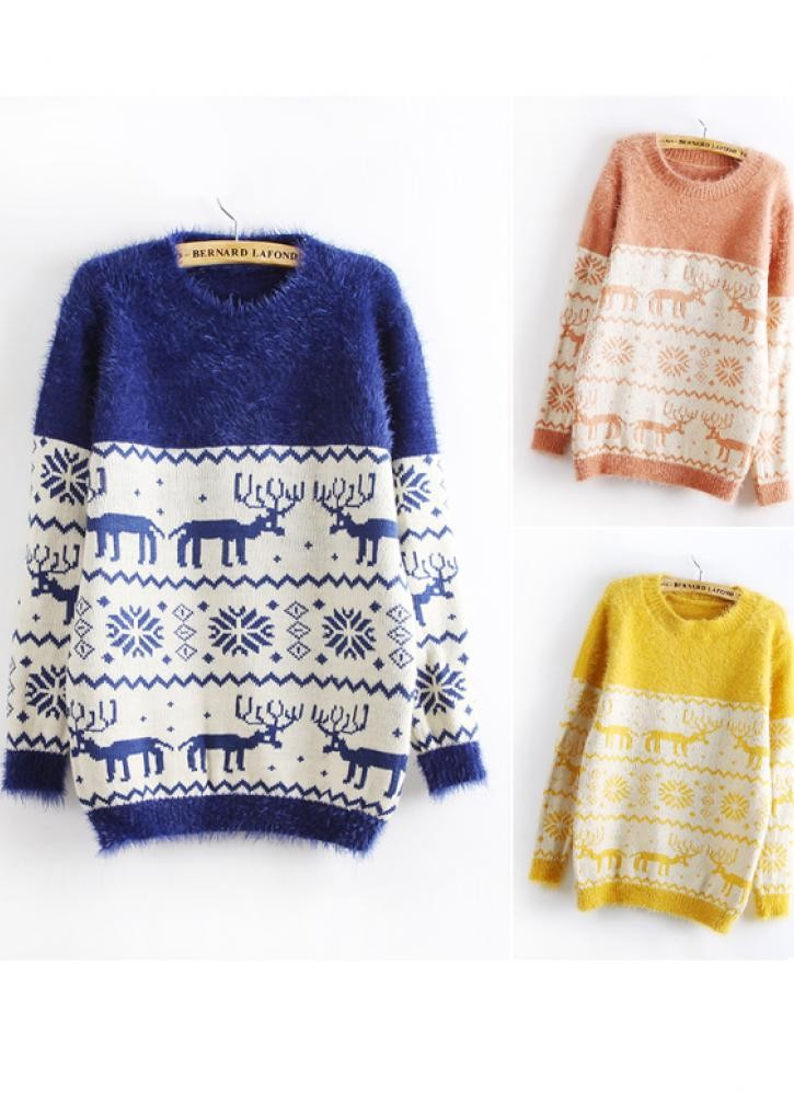 Deer & snowflakes print fluffy sweater