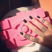 bag,pink,cute,handbag,chanel,jewels,jewelry,Accessory,accessories,knuckle ring,ring,silver ring,gold