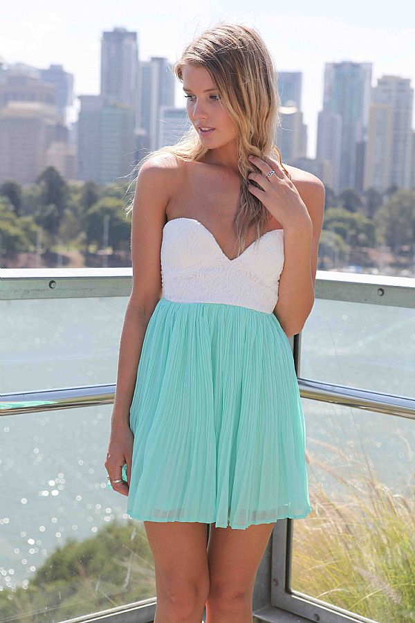 Multi Strapless Dress - Teal Strapless Mini Chiffon Dress | UsTrendy