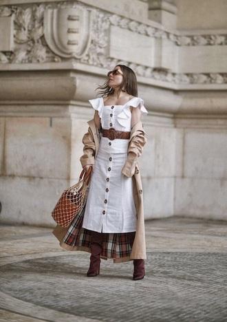 skirt white skirt midi skirt belt boots brown boots matching set button up button up skirt white top crop tops