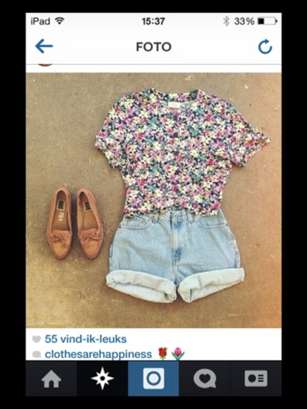 shirt flowers floral shorts shoes