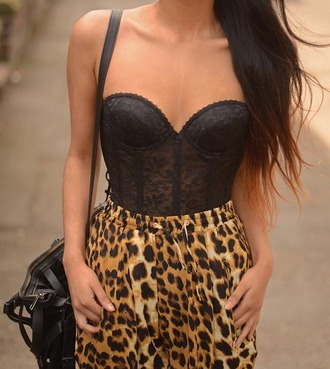 tank top leopard print animal print bustier lace bag shorts