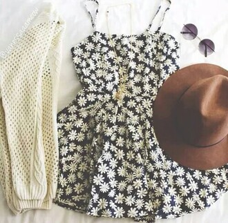 dress floral dress black and white dress white flowers hat