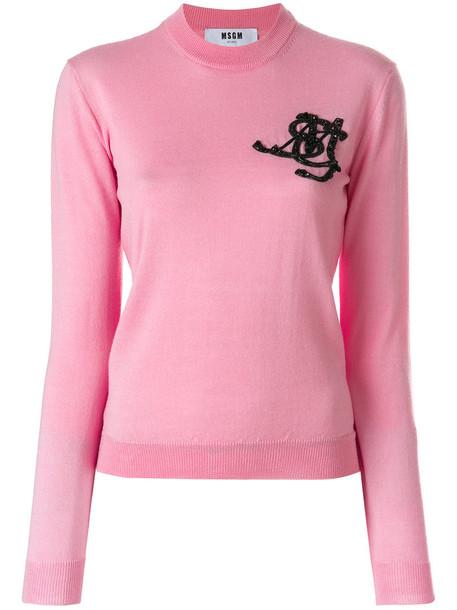 MSGM sweater women embellished wool purple pink