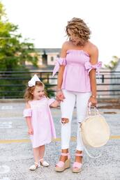 something delightful,blogger,top,jeans,shoes,bag,jewels,dress,round bag,pink top,wedges,off the shoulder top,mother and child,spring outfits