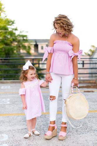 something delightful blogger top jeans shoes bag jewels dress round bag pink top wedges off the shoulder top mother and child spring outfits