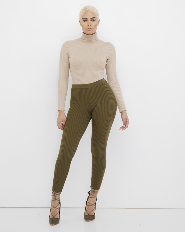 latest releases hot sale online super cheap compares to DEEP WAVE Ribbed Knit Leggings in Olive at FLYJANE