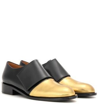 metallic shoes leather black