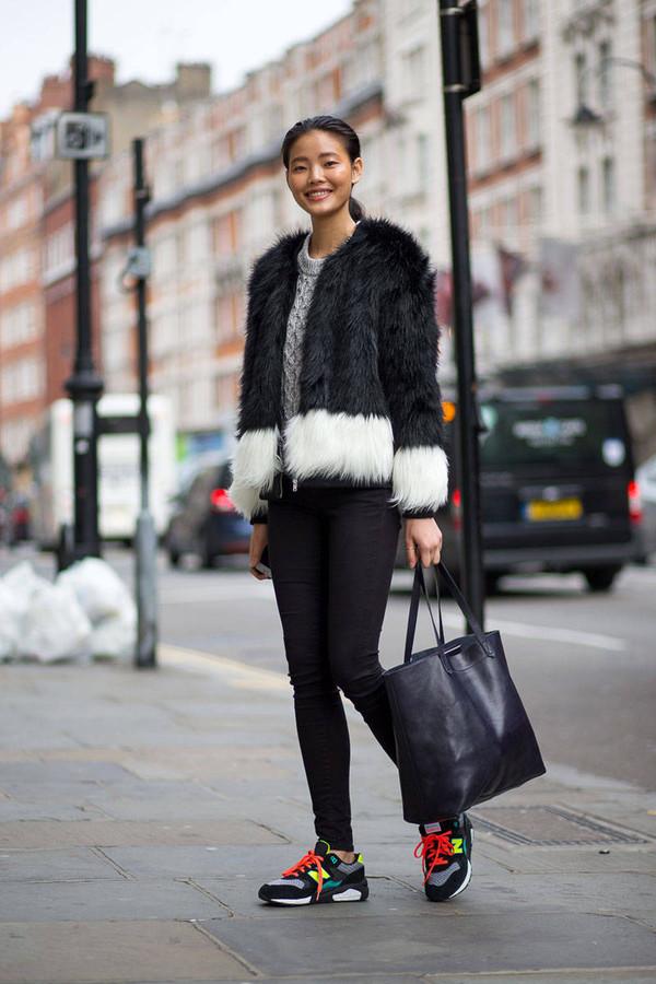 jacket fur fall outfits fashion week 2014 streetstyle