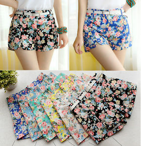 Women Flowers Floral Denim Shorts Flexible Mini Short Hot Pants with Belt K33 | eBay
