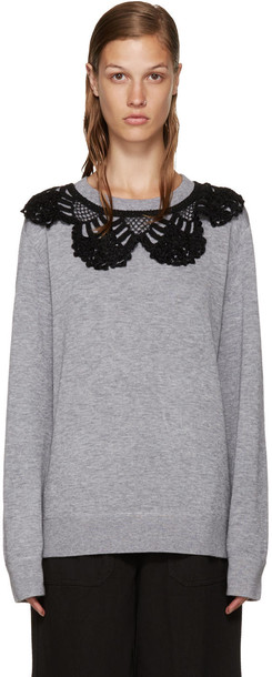 Marc Jacobs pullover crochet grey sweater