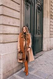skirt,tumblr,monochrome,monochrome outfit,midi skirt,slit skirt,coat,camel,camel coat,boots,brown boots,scarf,bag