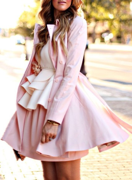 coat trench pink trenchcoat girly cute pretty skirt circle skirt cream peplum ruffle full skirt trench coat lauren conrad blouse