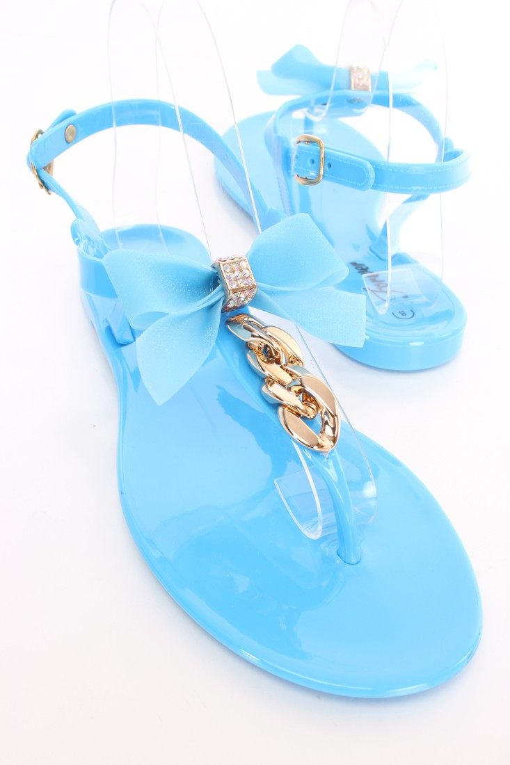 Blue Bow Front Chain Jelly Thong Sandals Rubber