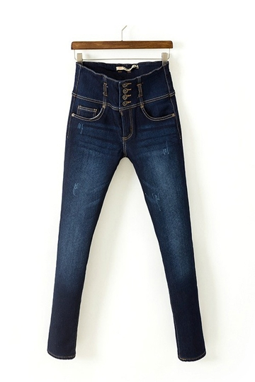 Retro High Waist Thick Jeans With Button Design [FHBI0051]- US$ 32.99 - PersunMall.com