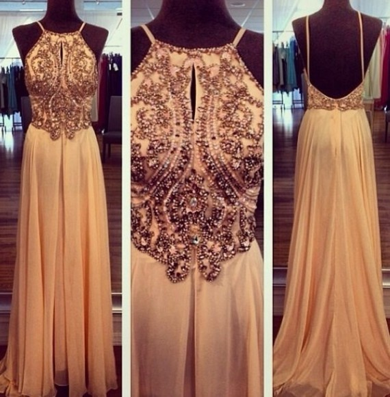 dress gold elegant glitter dress open back dresses clothes prom dress long prom dresses pink