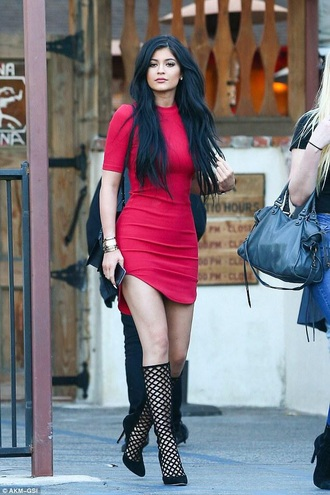 dress kylie jenner dress red dress bodycon dress shoes