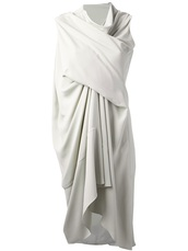 dress,rick owens,draped dress,white dress